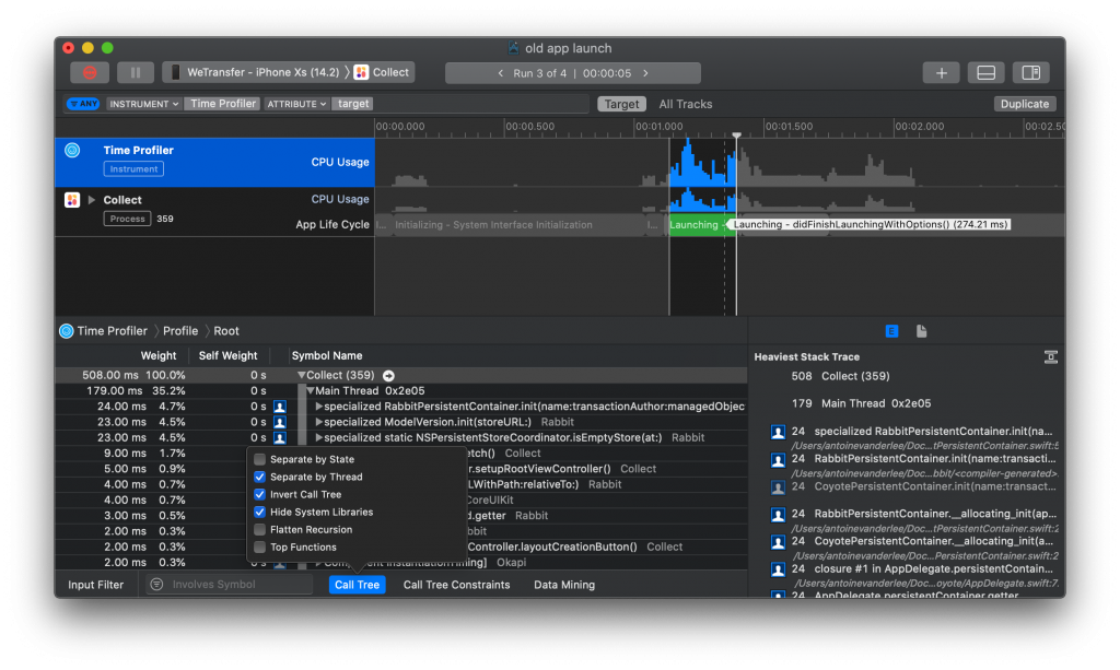 The time profiler gives insights in slow performing code during app launch time.