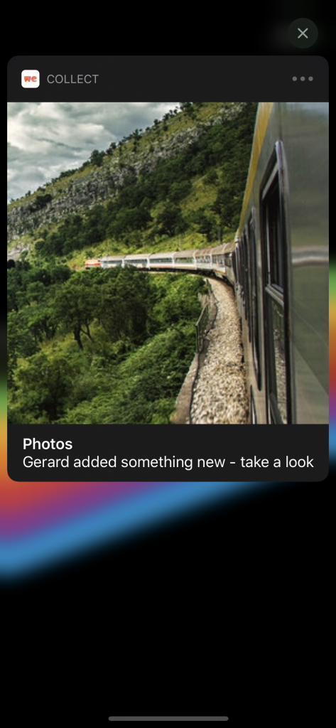 A rich push notification showing a preview of the image