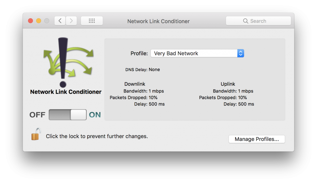The Network Link Conditioner on MacOS