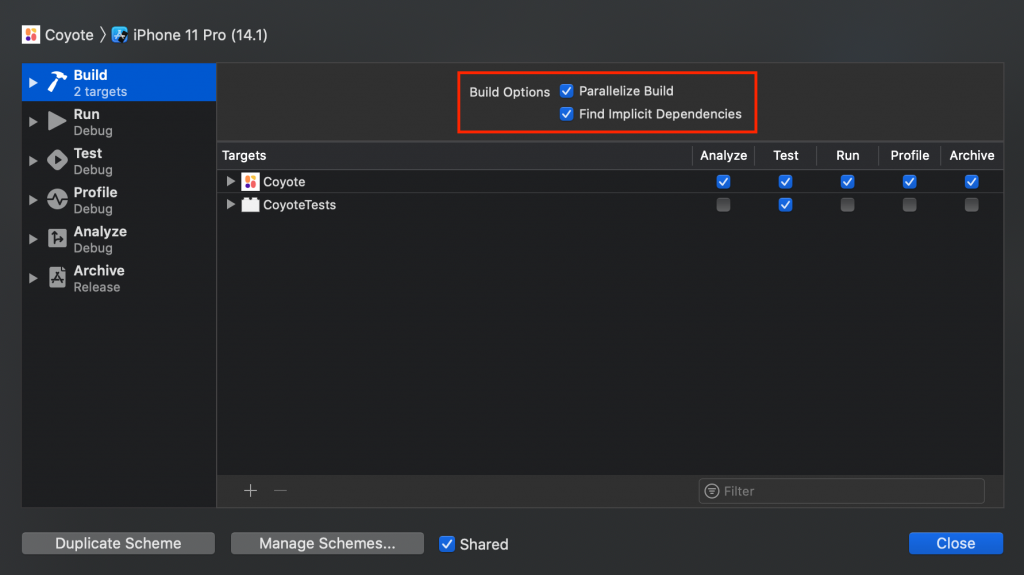 Enable parallel building in the Xcode Scheme Settings.