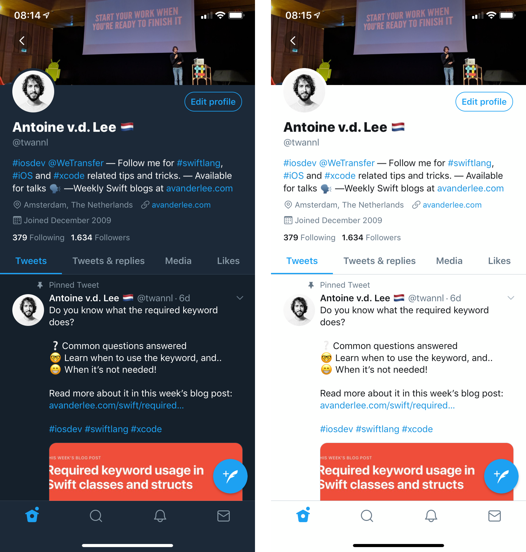 Dark mode vs light mode inside the Twitter iOS app
