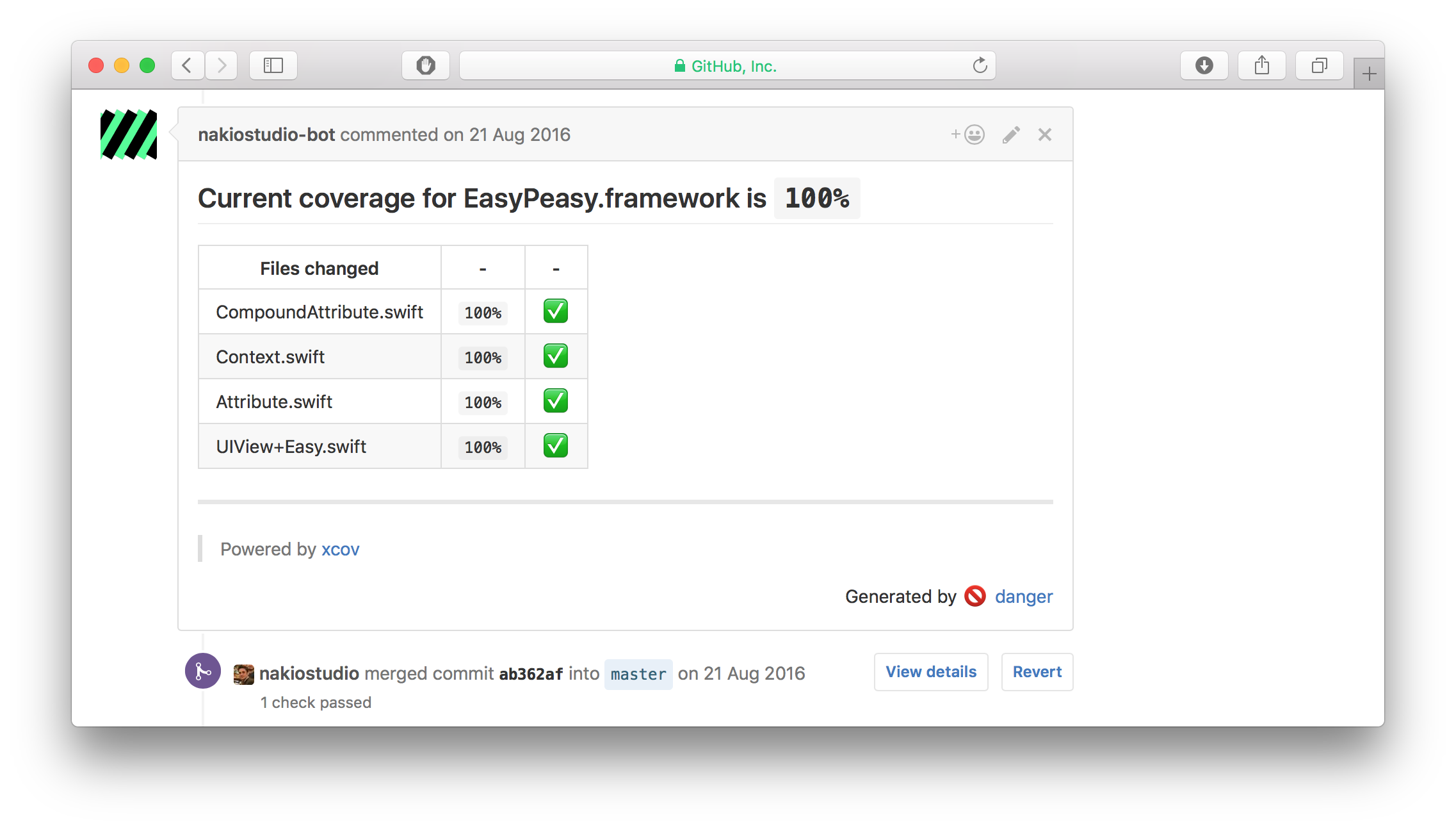 An example overview of displayed code coverage