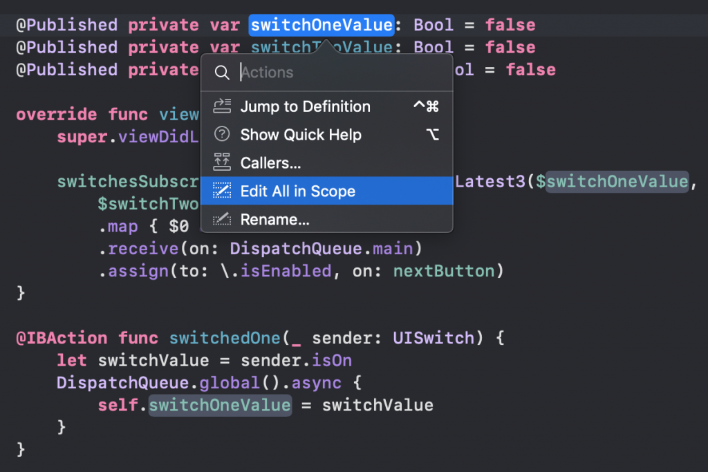 The Xcode Edit all in scope refactoring method