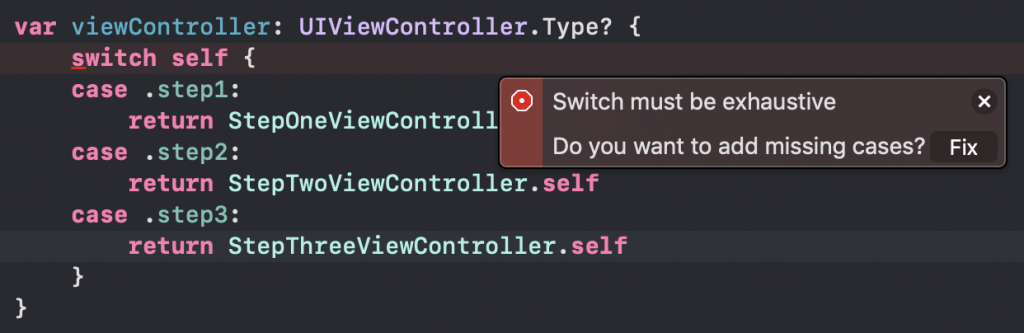 Exhaustive switch error in Xcode