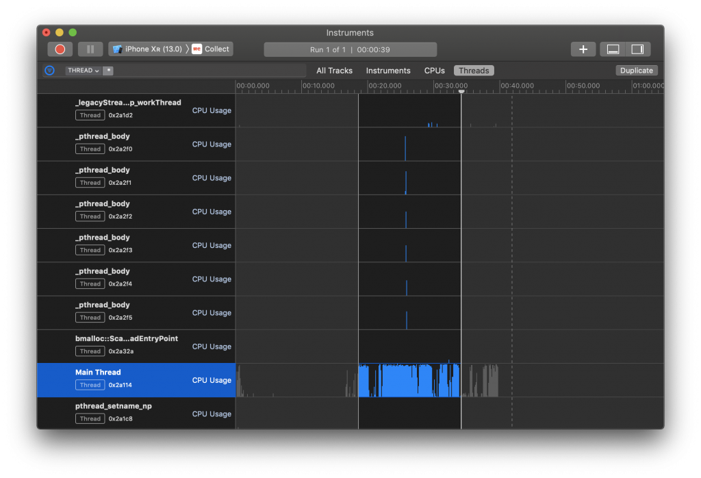 Time Profiler main thread usage insights in Xcode Instruments