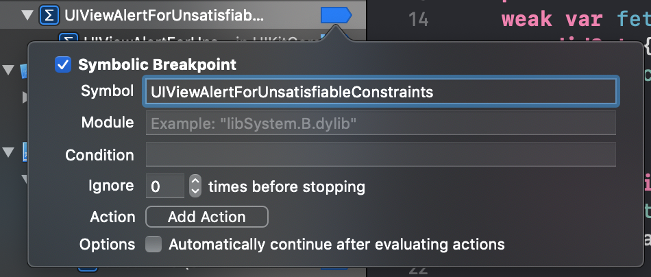 Adding a symbolic breakpoint for UIViewAlertForUnsatisfiableConstraints