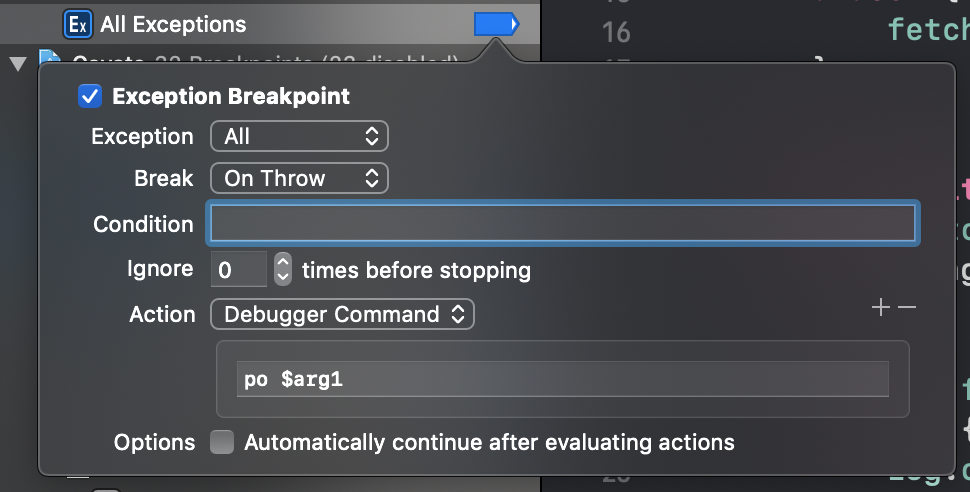 Printing out arguments in an exception breakpoint