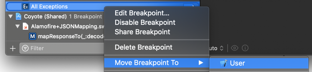 Moving a breakpoint in Xcode