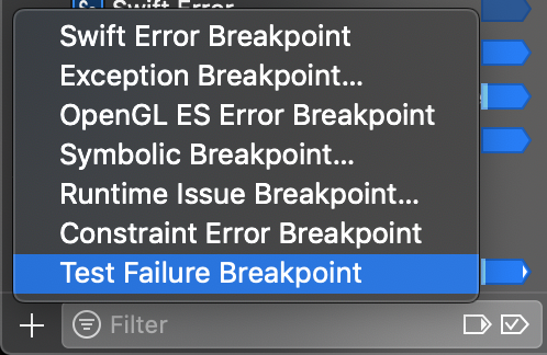 Adding a test failure breakpoint