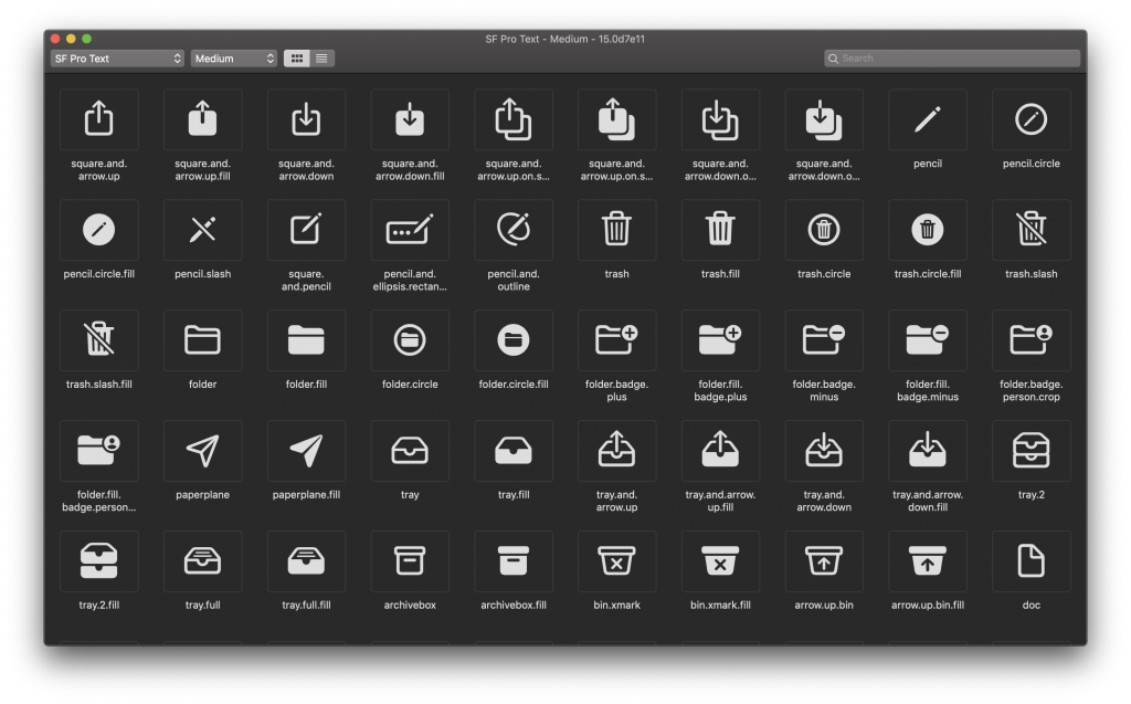The SF Symbols Mac app with an overview of all the symbols