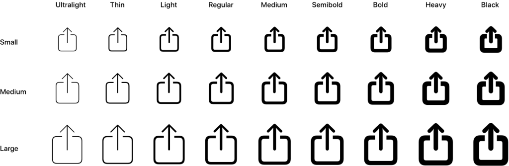 An SF Symbol example with all its scales and weights