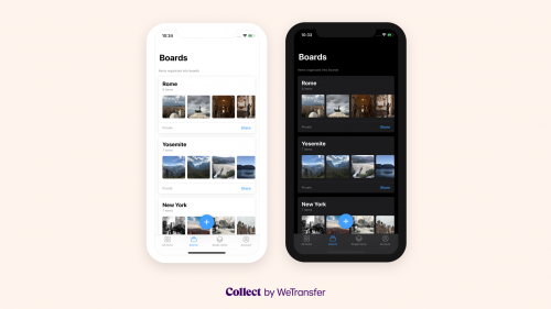 The Dark and Light Mode implementation in the Collect by WeTransfer app