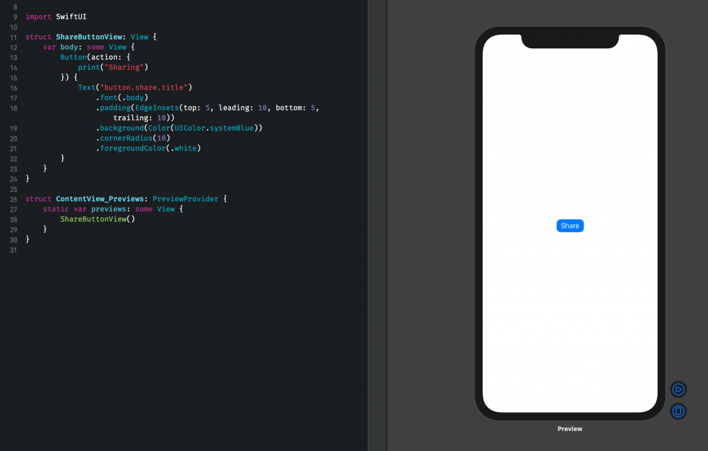 The SwiftUI Preview as shown by default.
