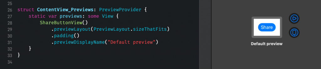 Sizing the SwiftUI Preview to fit its contents with a bit of padding.
