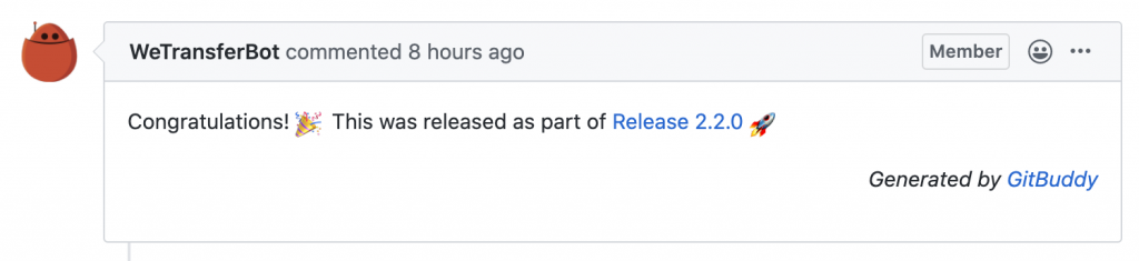 A comment posted on a pull request upon releasing