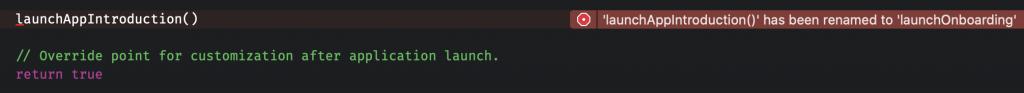 Marking a method as renamed in Swift.
