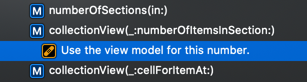 An example of a FIXME mark comment in Xcode.