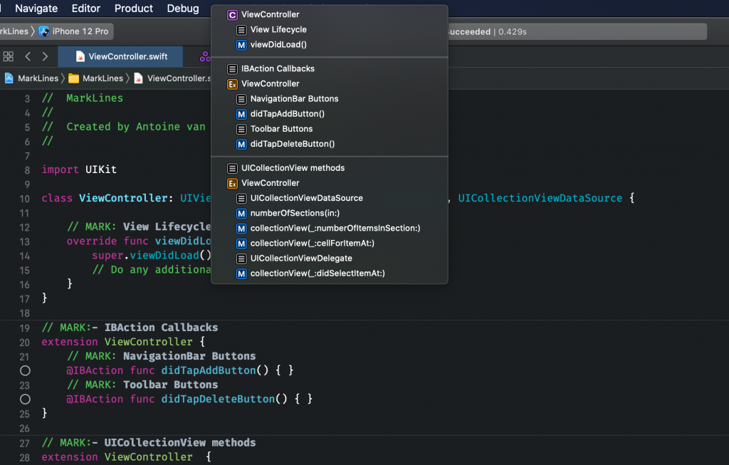 An example of using Xcode Mark Lines in a view controller.