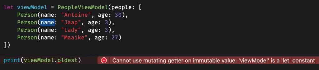 A Lazy var is mutating it's enclosing instance.