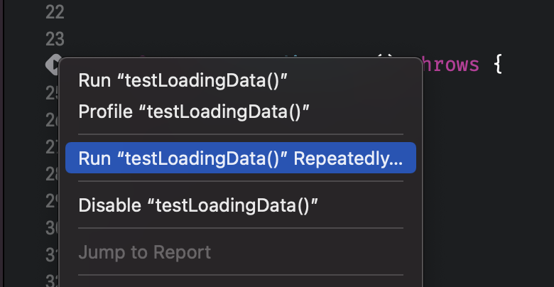 Accessing the test repetitions configuration in Xcode.