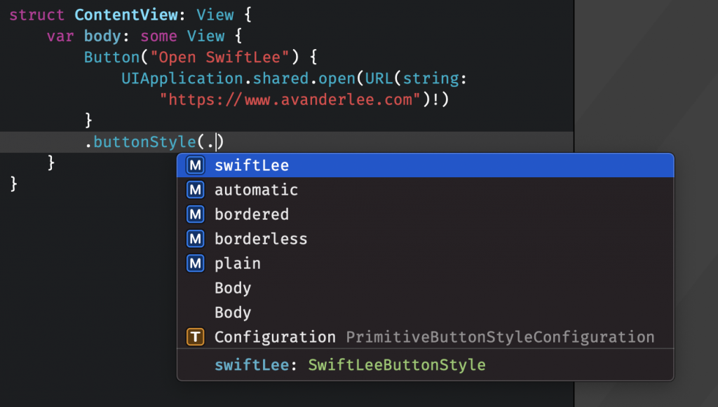 Static members are shown in autocompletion.